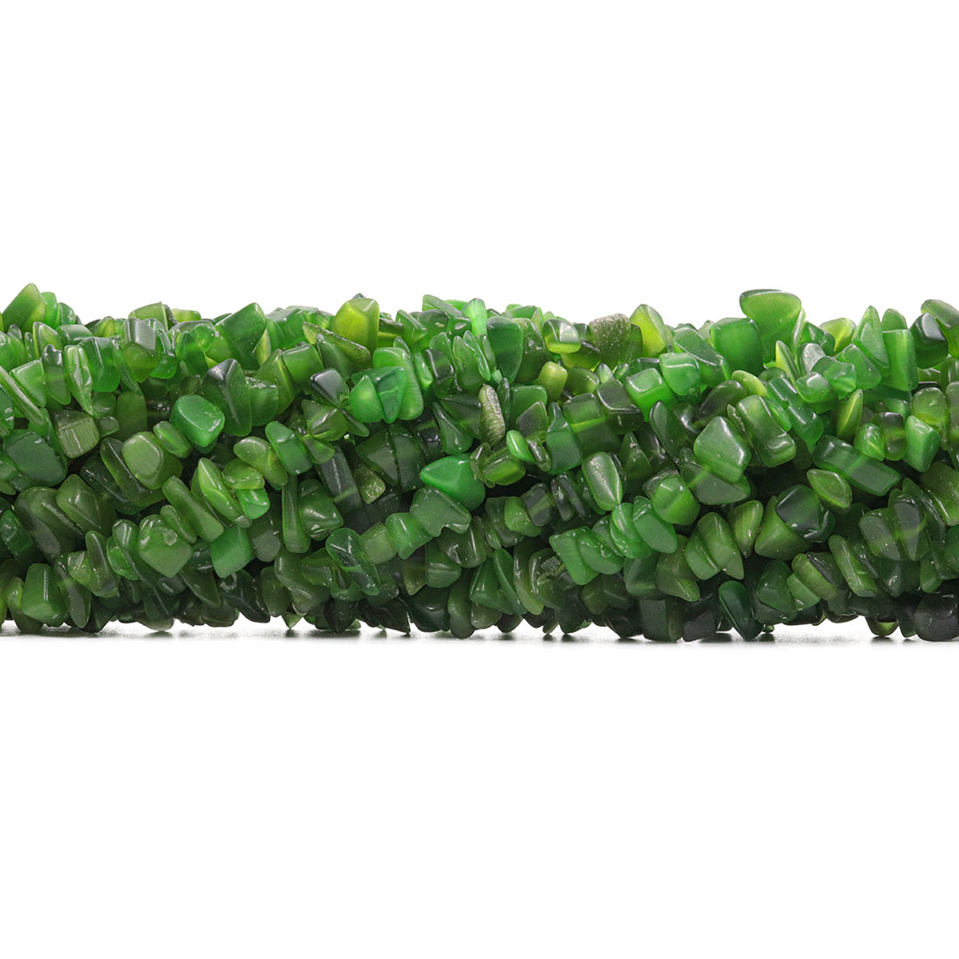 Fio de Cascalho de Olho de Gato Verde Folha - FC108  - ArtStones