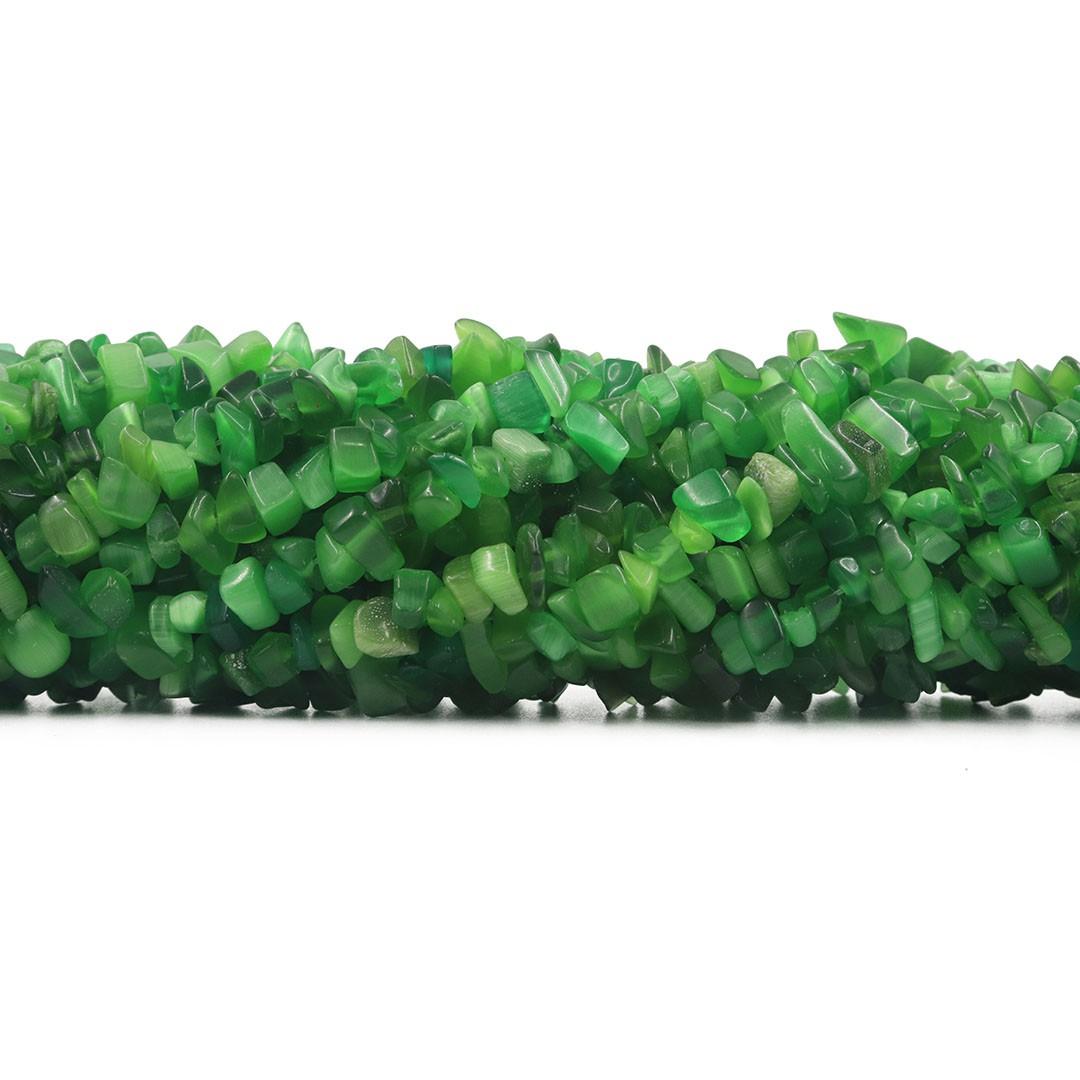 Fio de Cascalho de Olho De Gato Verde Mesclado - FC057  - ArtStones