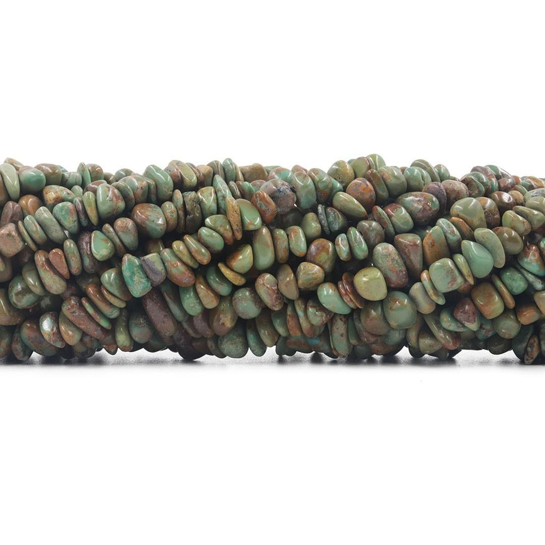 Fio de Cascalho Rolado de Turquesa Africana - FC069  - ArtStones