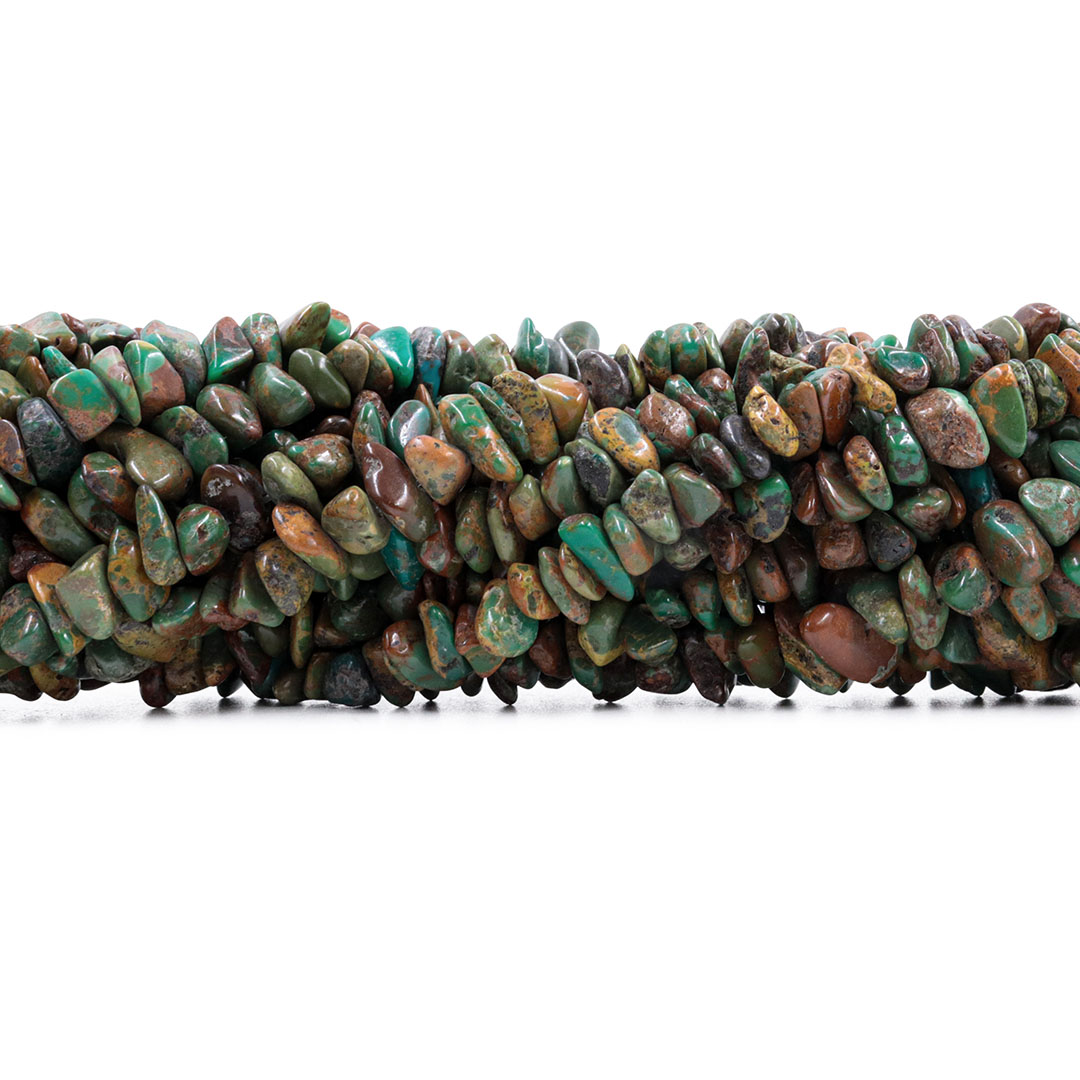 Fio de Cascalho de Turquesa Africana Verde Escuro - FC073  - ArtStones