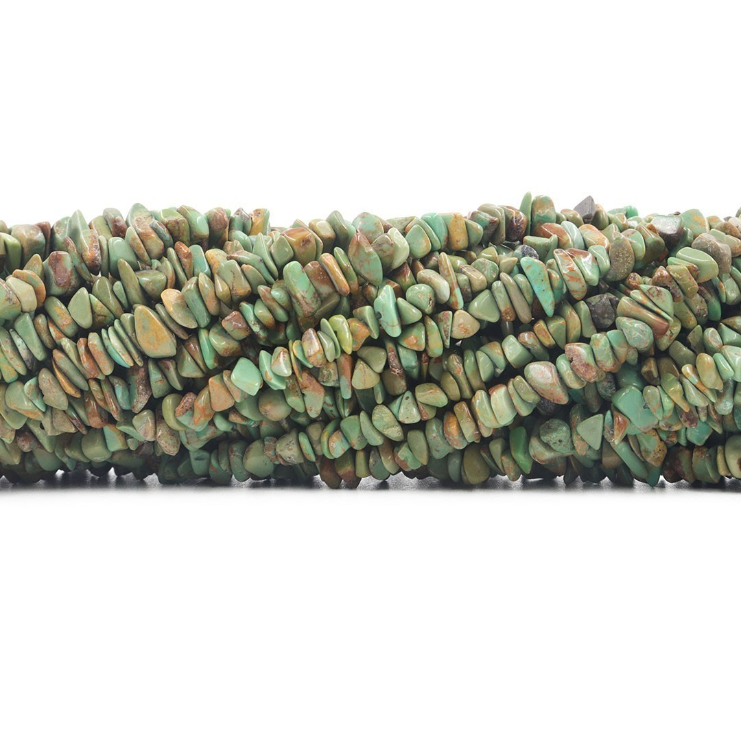 Fio de Cascalho de Turquesa Natural Verde Mesclada - FC035  - ArtStones