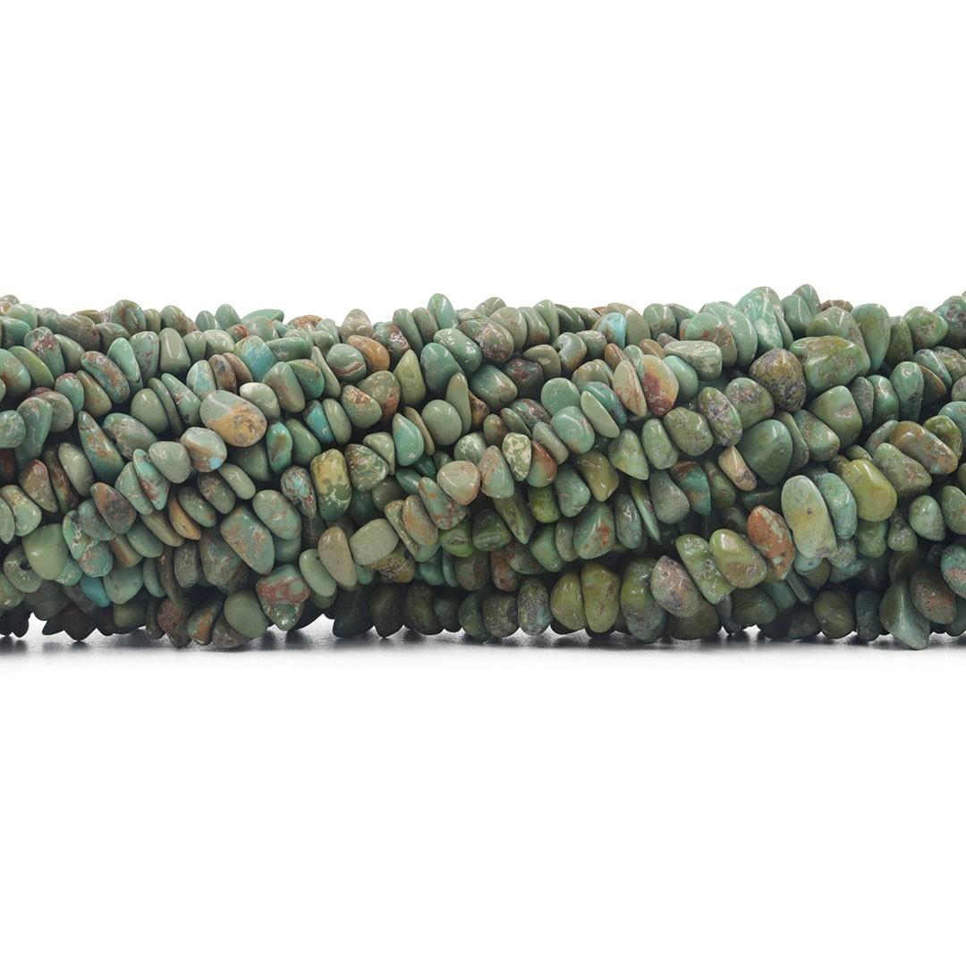 Fio de Cascalho de Turquesa Natural Verde Rústica - FC060  - ArtStones