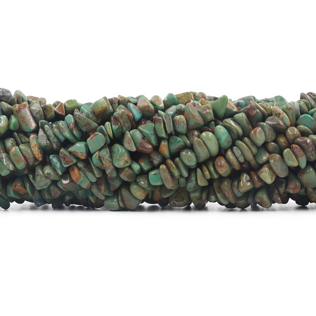 Fio de Cascalho de Turquesa Verde Africana - FC076  - ArtStones
