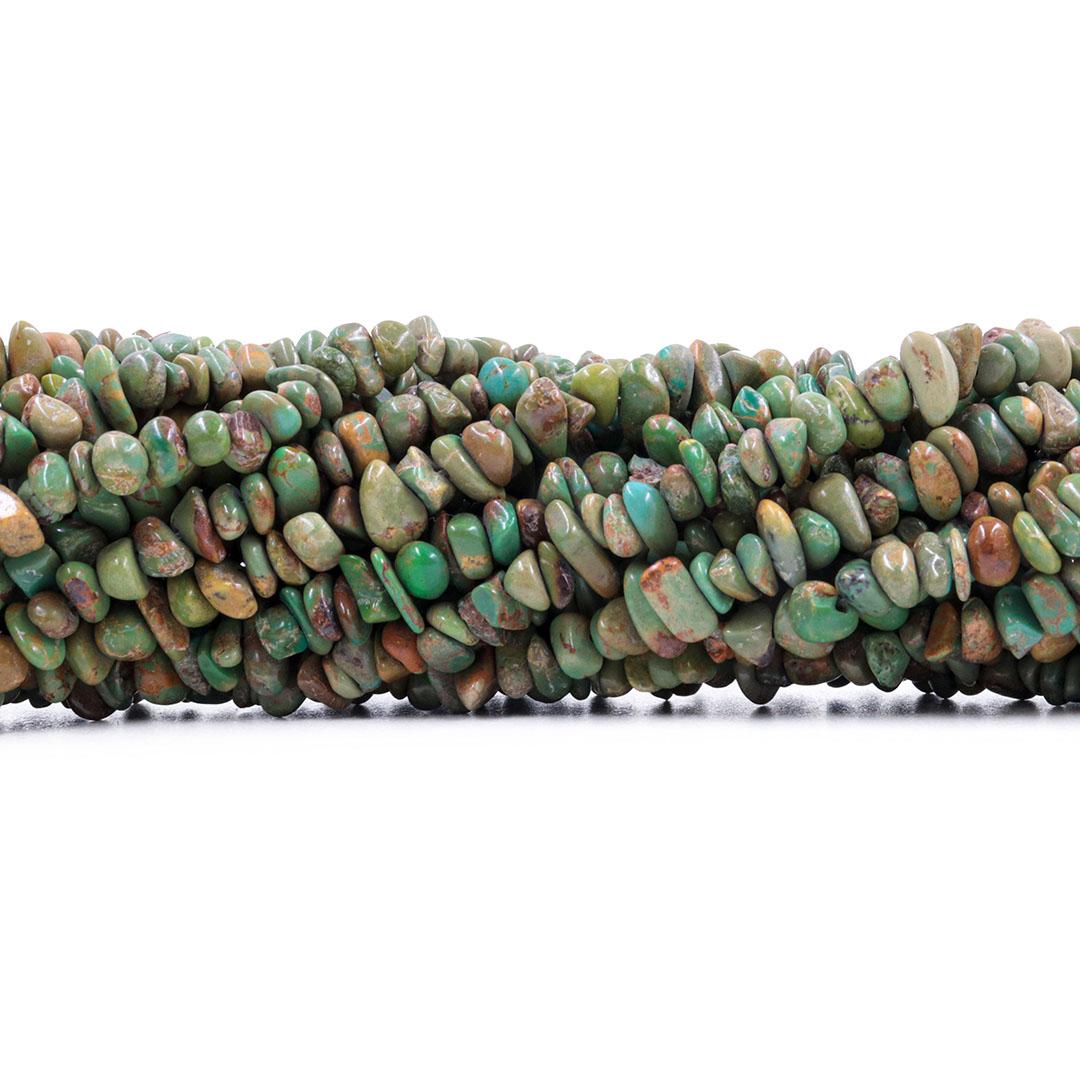 Fio de Cascalho Fino de Turquesa Africana Verde - FC026  - ArtStones