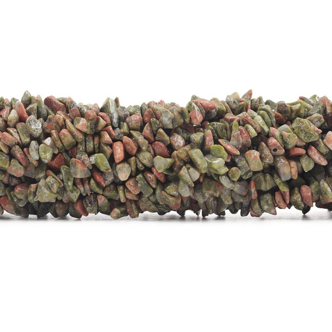 Fio de Cascalho Fino de Unakita Natural - FC033  - ArtStones