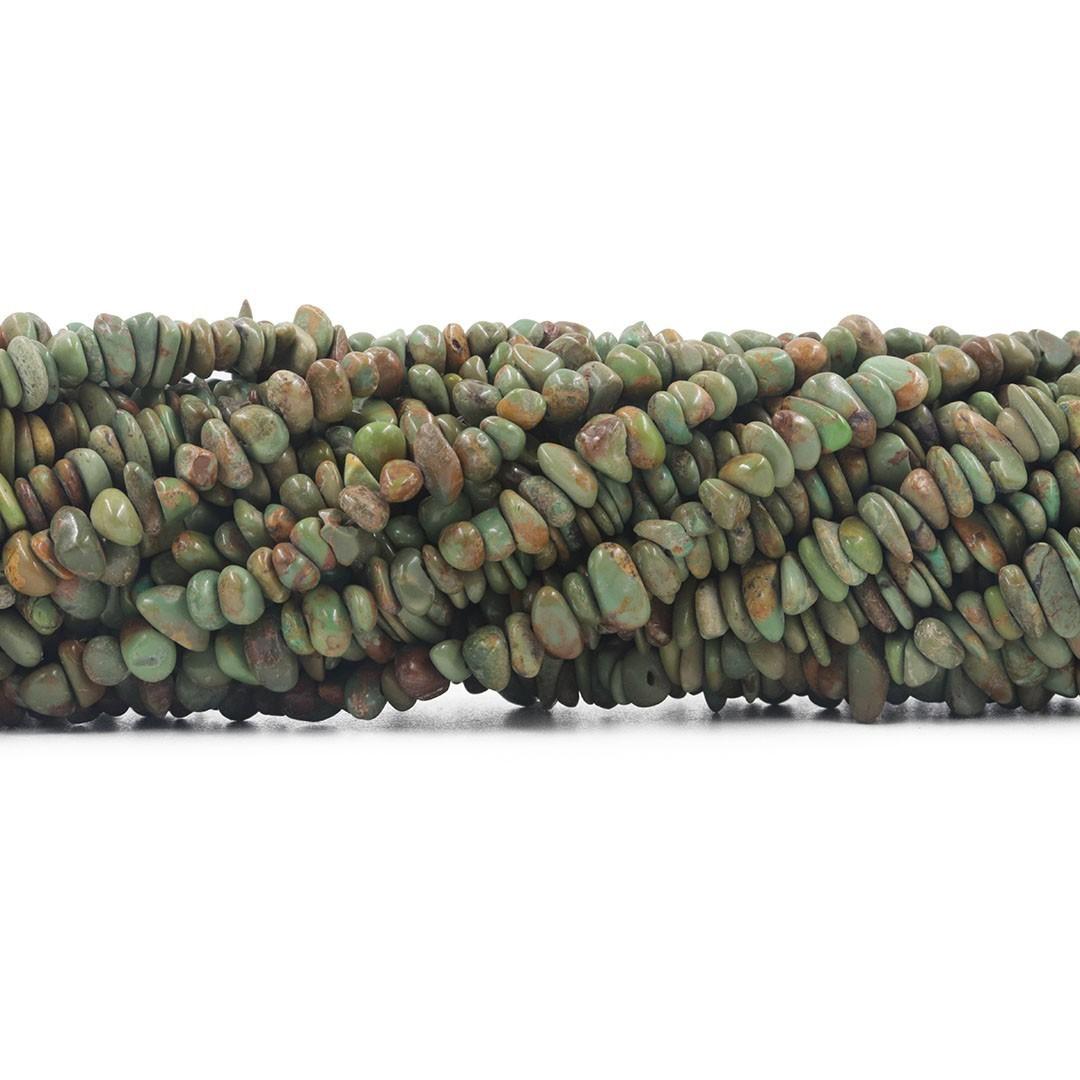 Fio de Cascalho Fino Rolado de Turquesa Natural Verde Mesclada  - FC079  - ArtStones