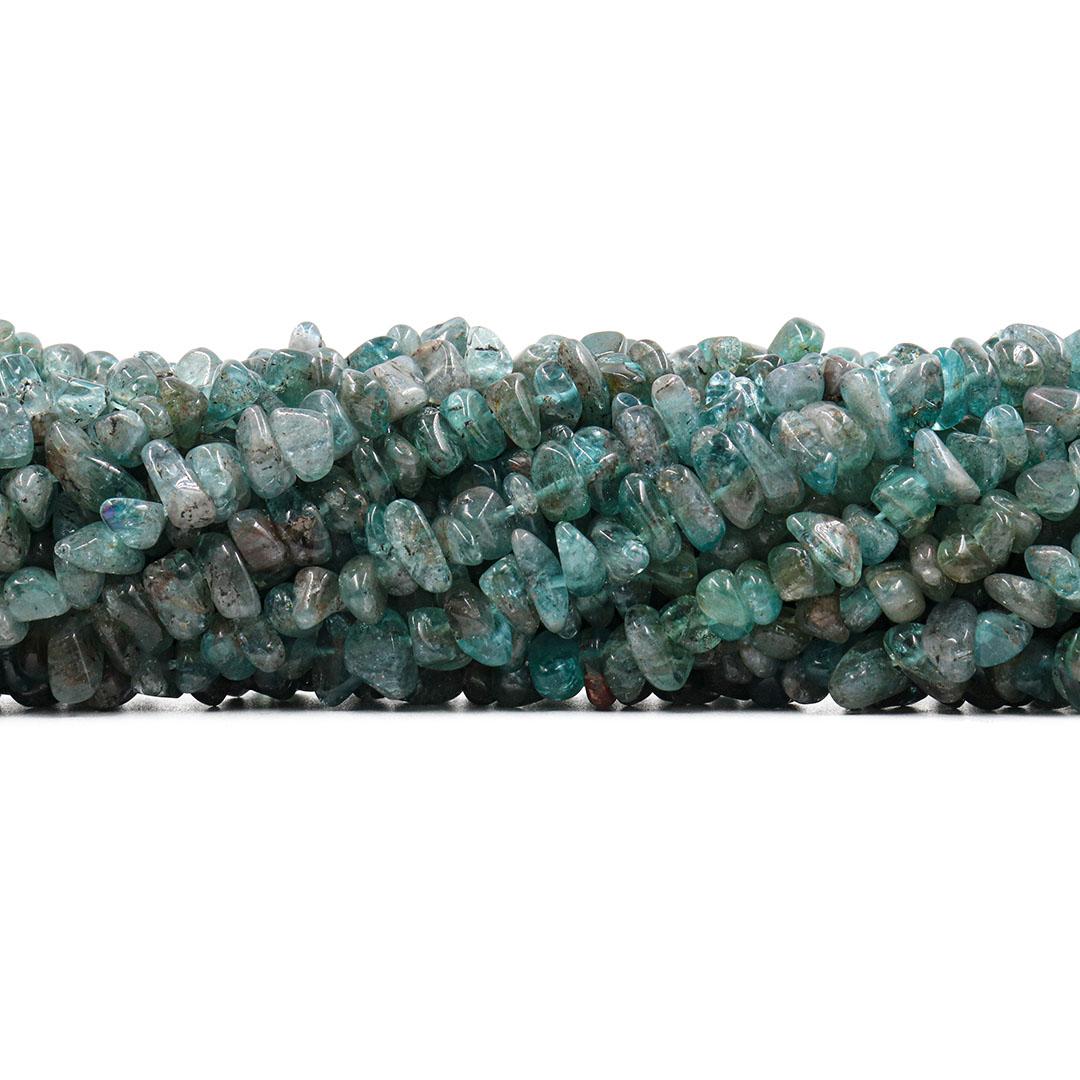 Fio de Cascalho Rolado de Apatita Verde Natural Graúdo - FC050  - ArtStones