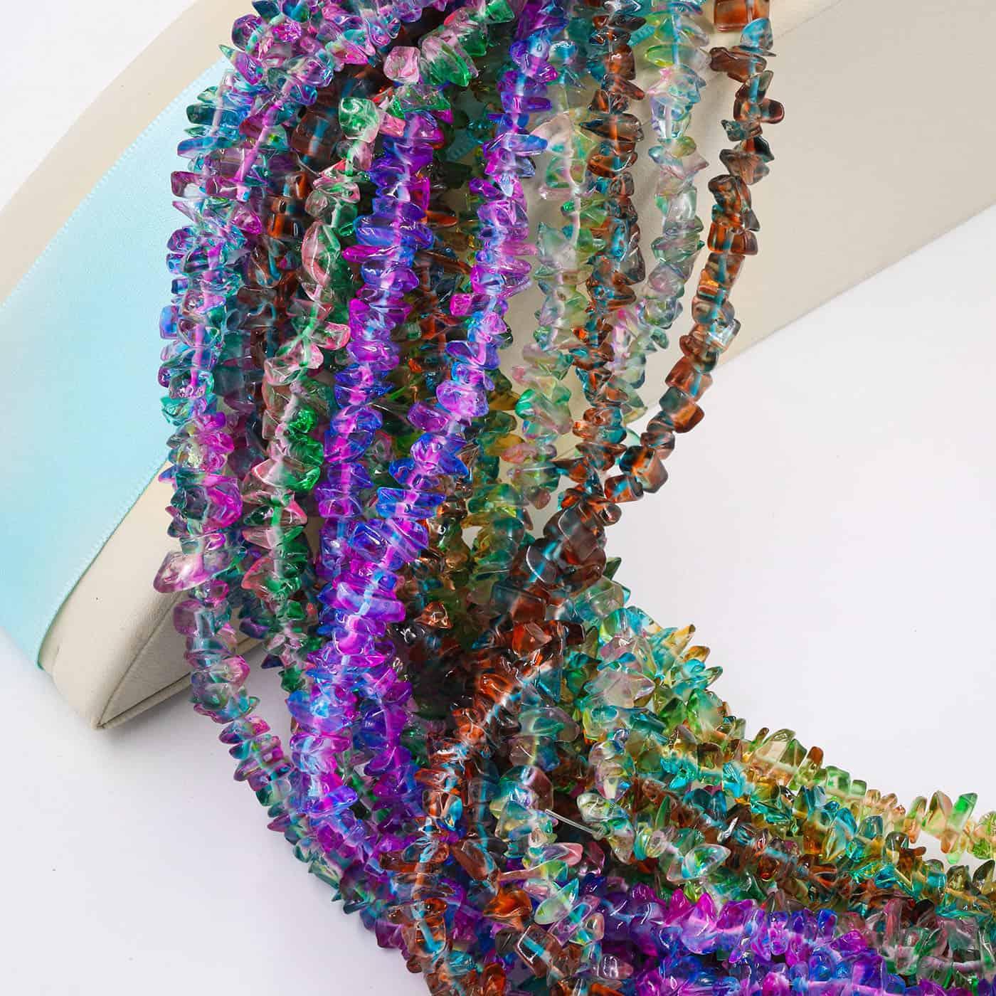 Fio de Cascalho Murano Rainbow Azul com Violeta - FC046  - ArtStones
