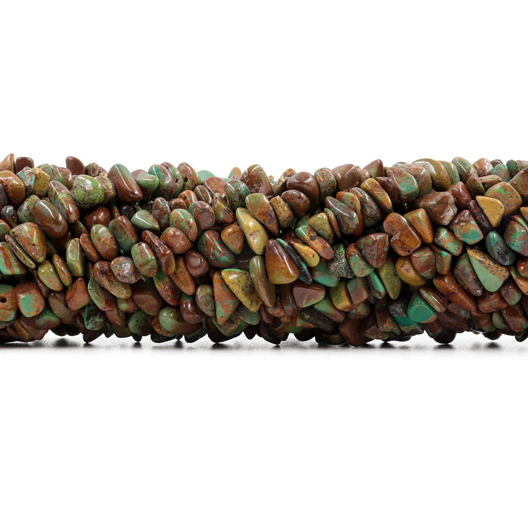 Fio de Cascalho Turquesa Africana Ferrugem - FC107  - ArtStones
