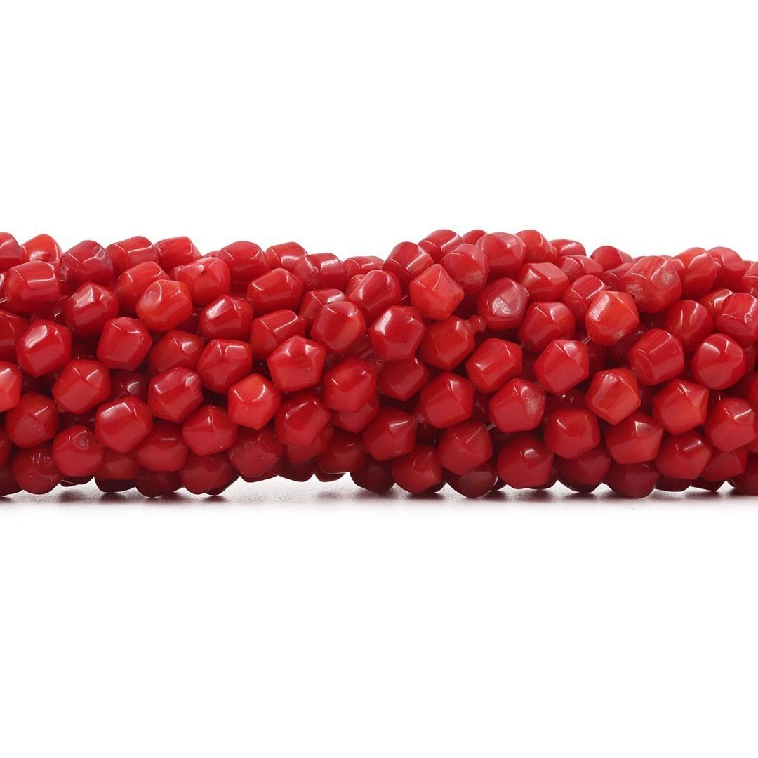 Fio de Coral Vermelho Pião Disforme 5 a 7mm - CO030  - ArtStones