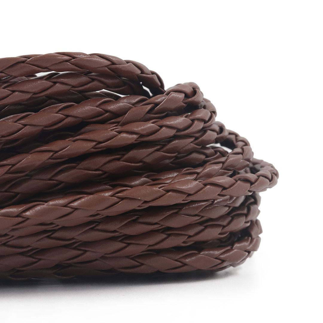 Fio de Couro Ecológico Trançado 4mm Chocolate - Metro  - MM034  - ArtStones