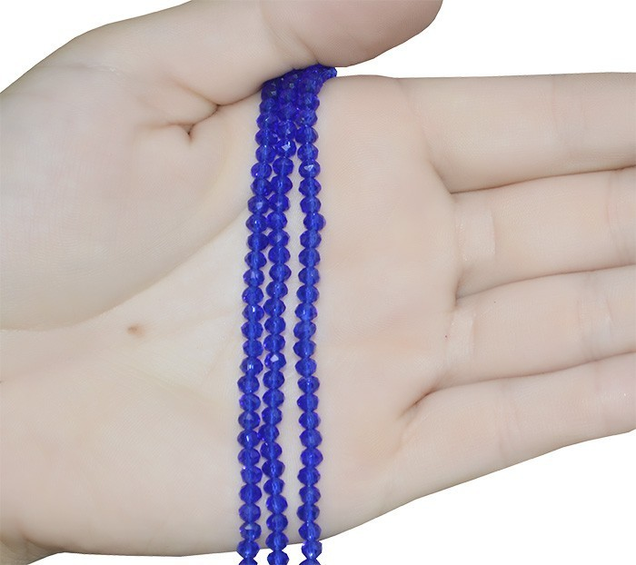 Fio de Cristal de Vidro Azul Bic 4mm  - 130 cristais - CV419  - ArtStones
