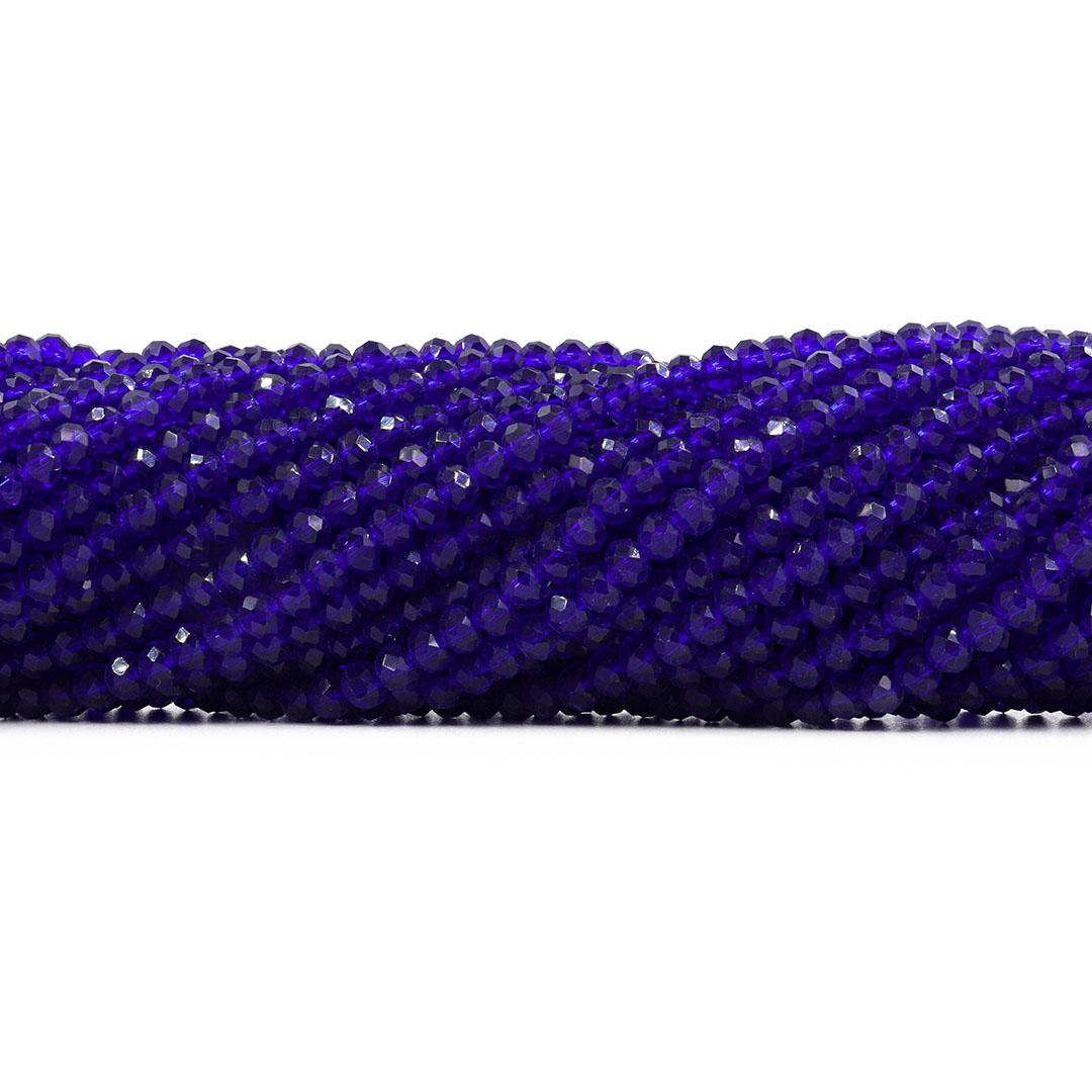 Cristal de Vidro Azul Bic 4mm  - 124 Cristais - CV260  - ArtStones
