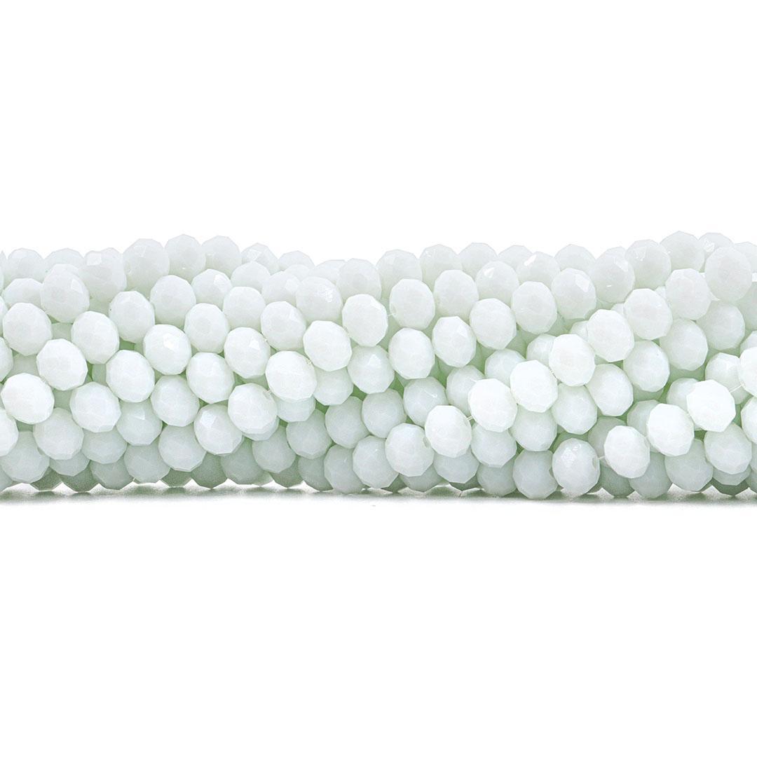 Fio de Cristal de Vidro Branco Leitoso 10mm - 67 cristais - CV136  - ArtStones