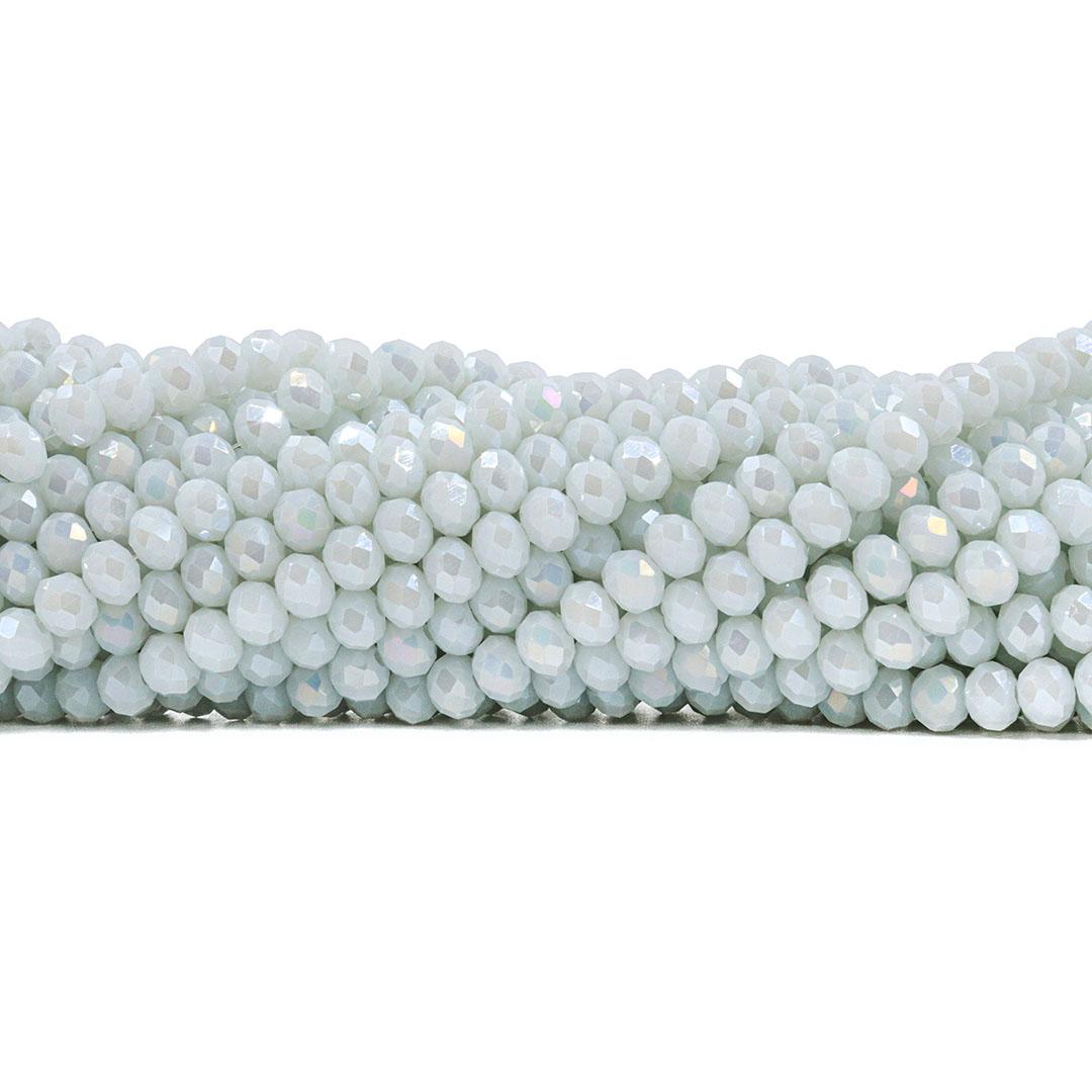 Fio de Cristal de Vidro Branco Noiva Boreal 6mm - 87 cristais - CV108  - ArtStones