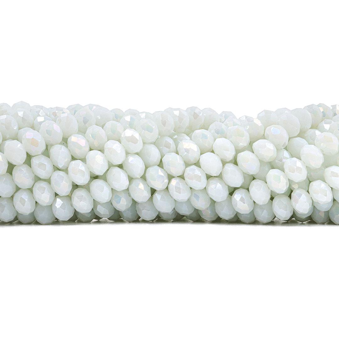 Fio de Cristal de Vidro Branco Noiva Boreal 8mm - 67 cristais - CV282  - ArtStones