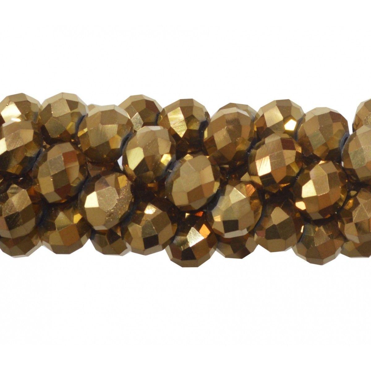 Fio de Cristal de Vidro Dourado 10mm - 70 cristais - FCR_586  - ArtStones