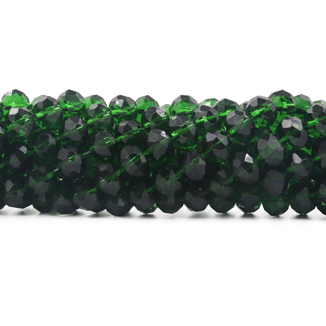 Fio de Cristal de Vidro Esmeralda Flat 10mm Facetado - 70 cristais - CV189  - ArtStones