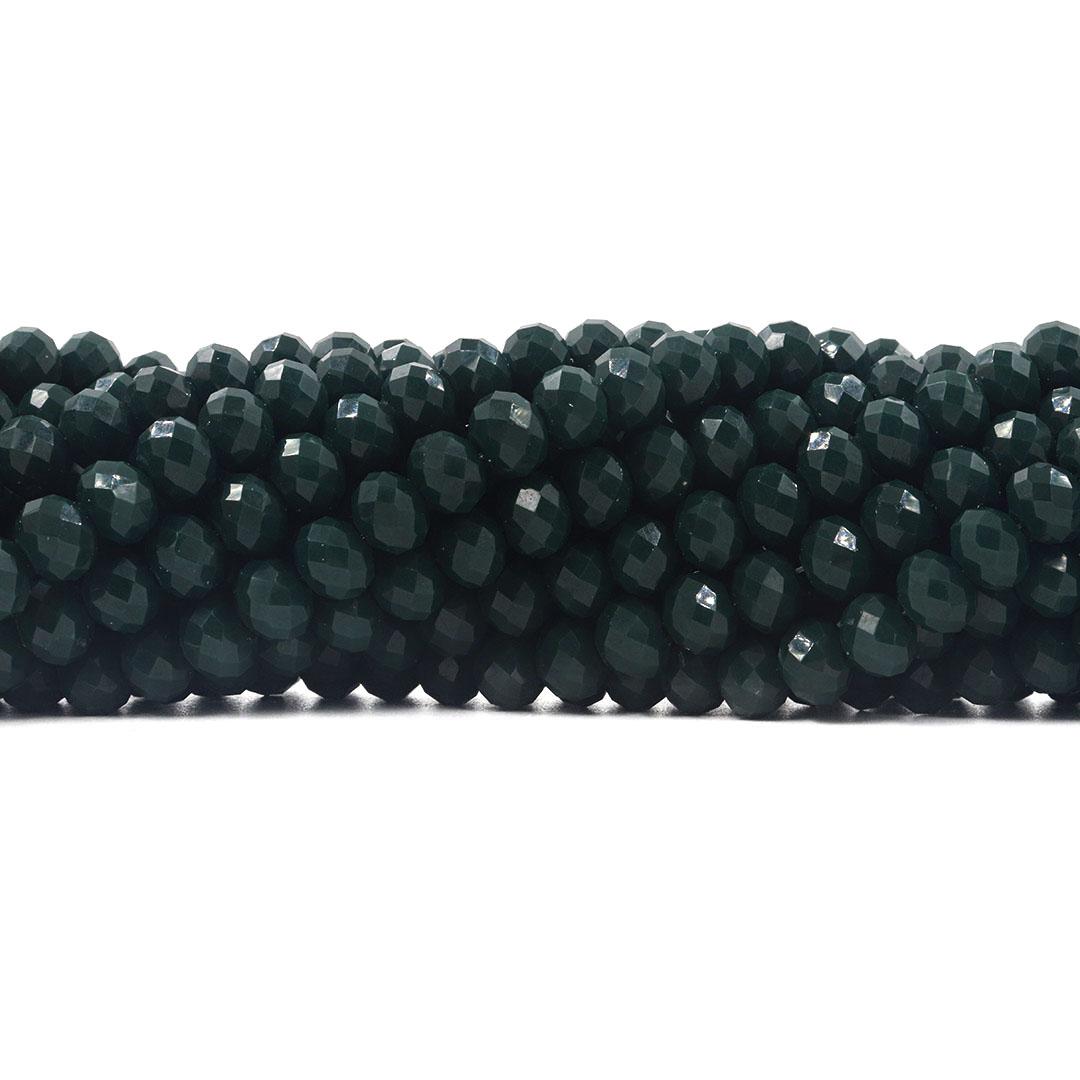 Fio de Cristal de Vidro Esmeralda Dark Flat 8mm - 67 cristais - CV506  - ArtStones