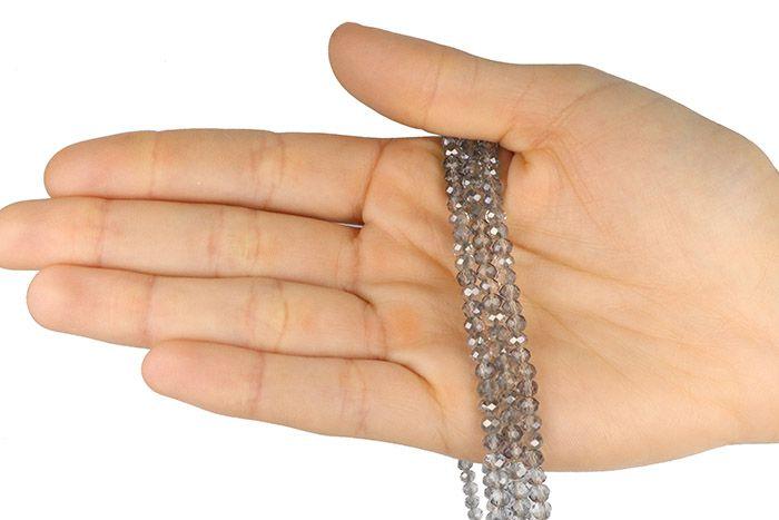 Fio de Cristal de Vidro Fumê Boreal 4mm - 130 cristais - CV070  - ArtStones