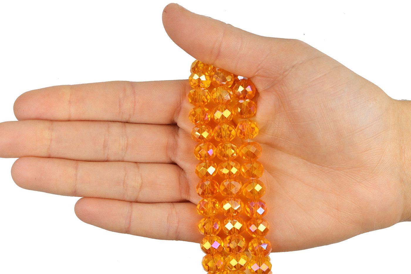 Fio de Cristal de Vidro Laranja  Boreal 10mm - 70 cristais - CV131  - ArtStones