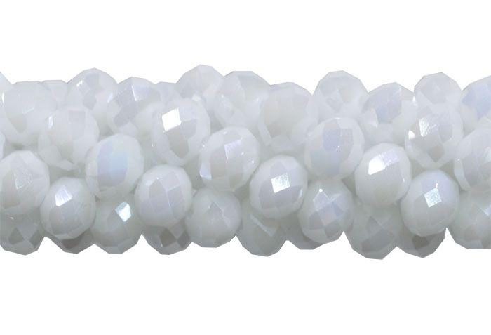 Fio de Cristal de Vidro Branco Noiva Boreal 8mm - 67 cristais - CV423  - ArtStones