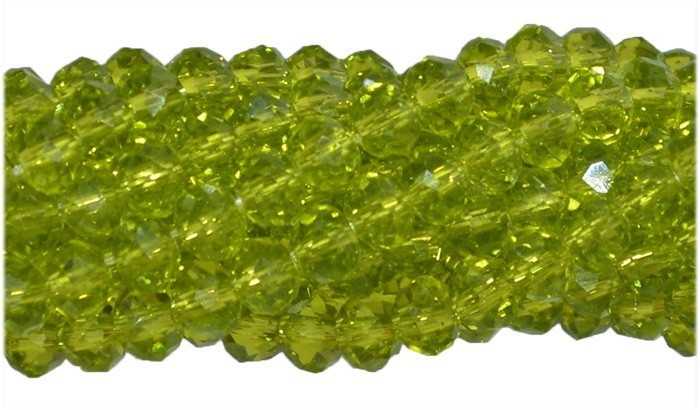 Fio de Cristal de Vidro Verde Peridoto 4mm - 140 cristais - CV071  - ArtStones