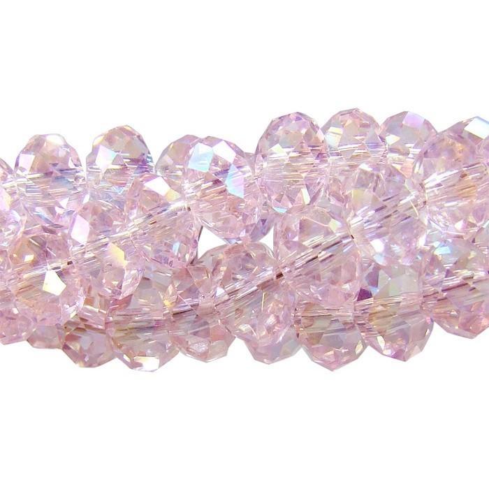 Fio de Cristal de Vidro Rosa Boreal 8mm Facetado - 70 cristais - CV347  - ArtStones