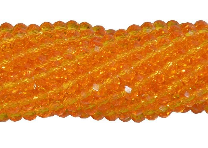 Fio de Cristal de Vidro Laranja 4mm - 140 cristais - CV076  - ArtStones