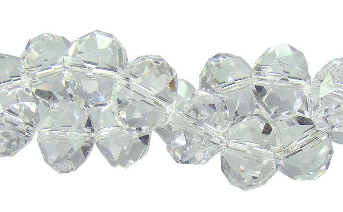 Fio de Cristal de Vidro Translúcido 10mm - 70 cristais - FCR_685  - ArtStones