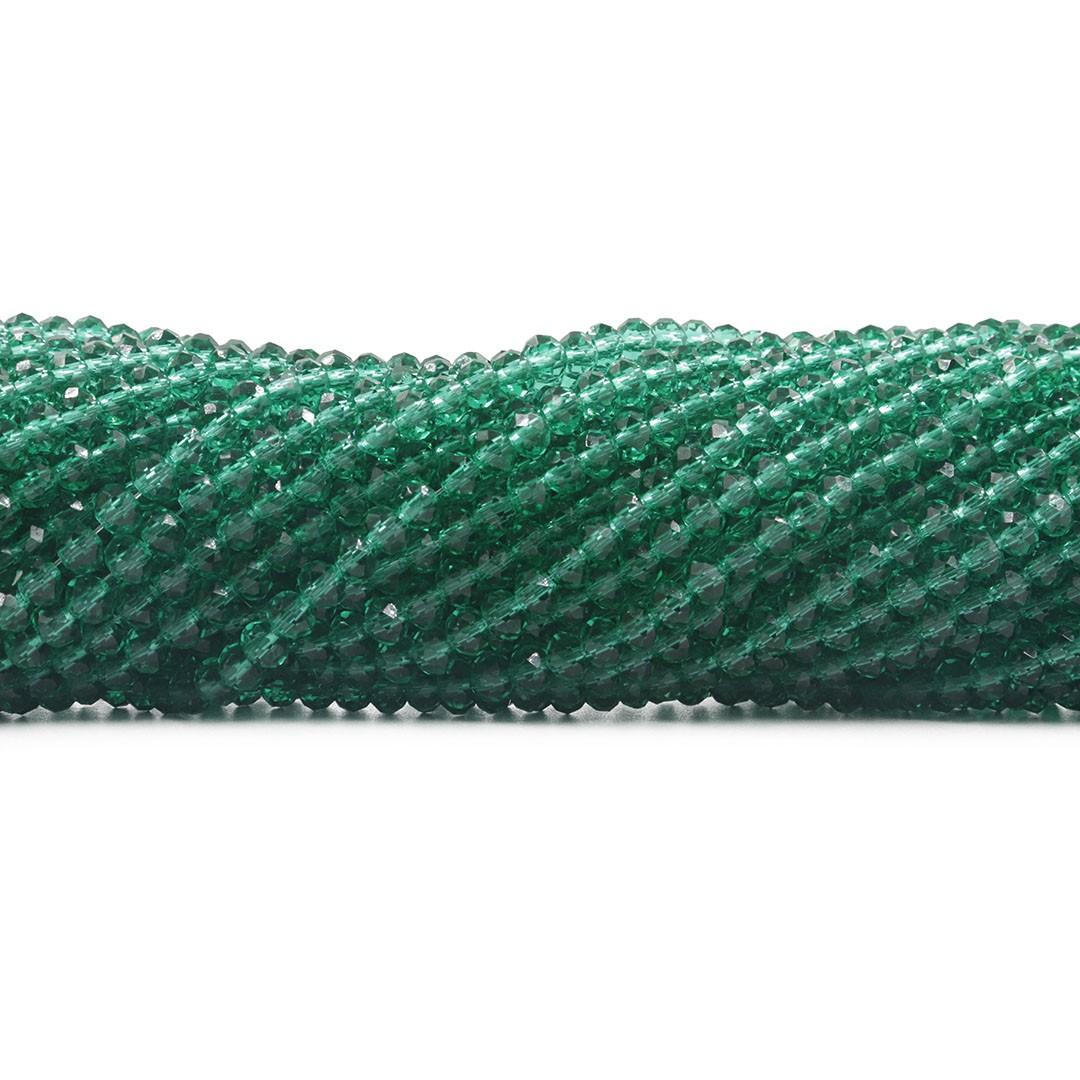 Fio de Cristal de Vidro Verde Oceânico Flat 4mm - 140 cristais - CV146  - ArtStones
