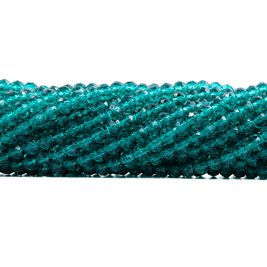 Fio de Cristal de Vidro Green Turmaline 6mm - 90 cristais - CV114  - ArtStones