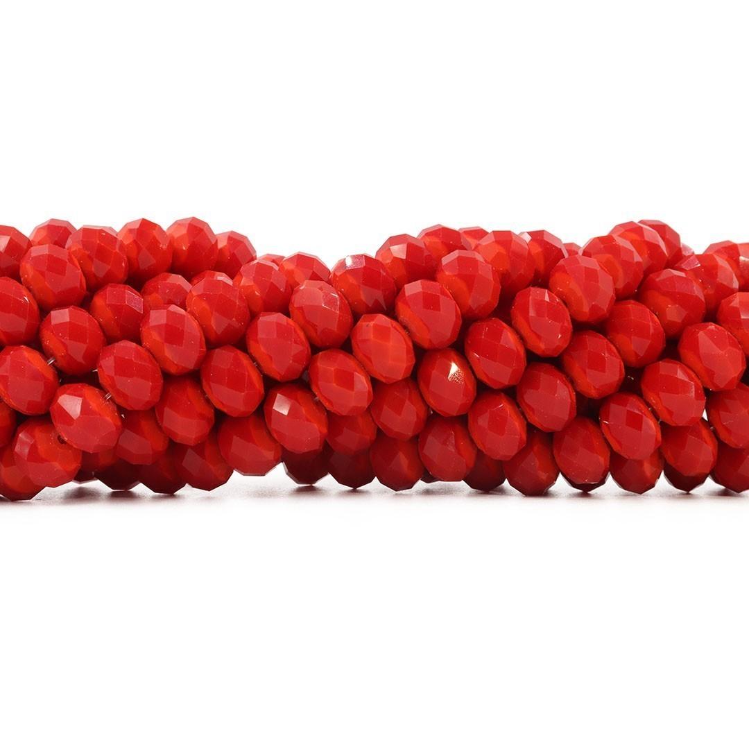 Fio de Cristal de Vidro Vermelho 12mm - 70 cristais - CV286  - ArtStones