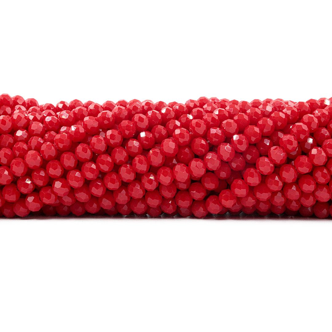 Fio de Cristal de Vidro Vermelho 6mm - 87 cristais - CV099  - ArtStones