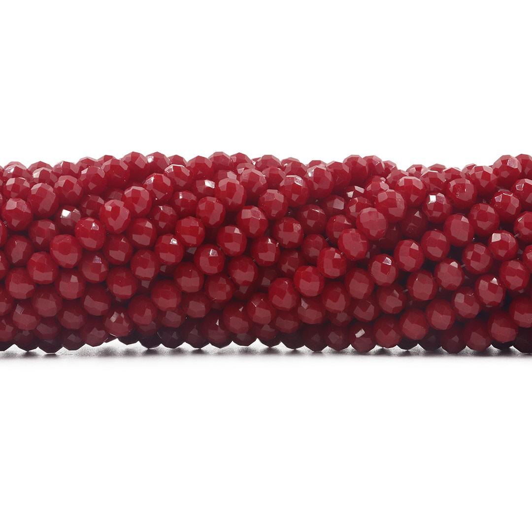 Fio de Cristal de Vidro Vermelho Rubi  6mm - 90 cristais - CV473  - ArtStones