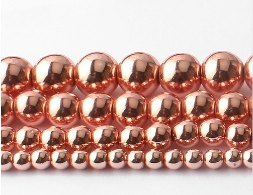Fio de Hematita Ouro Rose 8mm Qualidade Extra - FESF_414/8  - ArtStones
