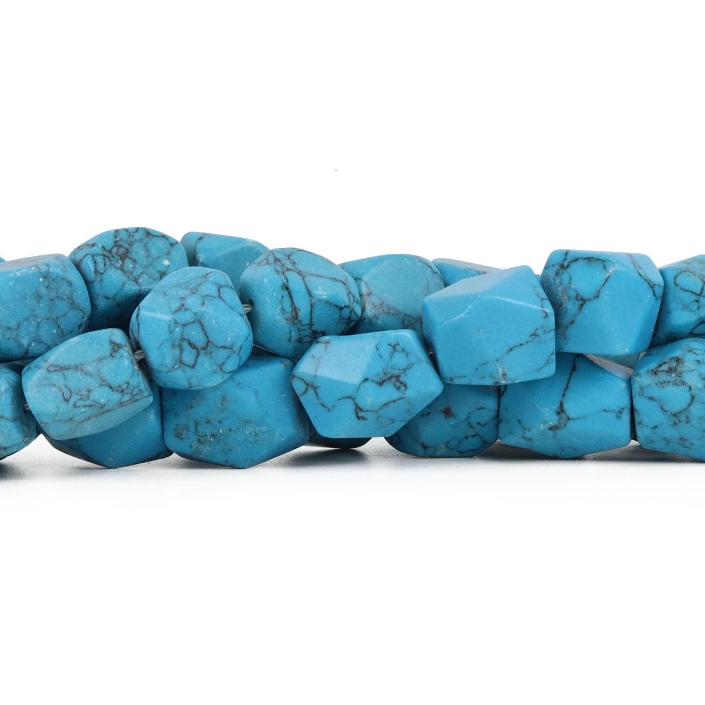 Fio de Howlita Azul Rajada Chanfrada - RO040  - ArtStones