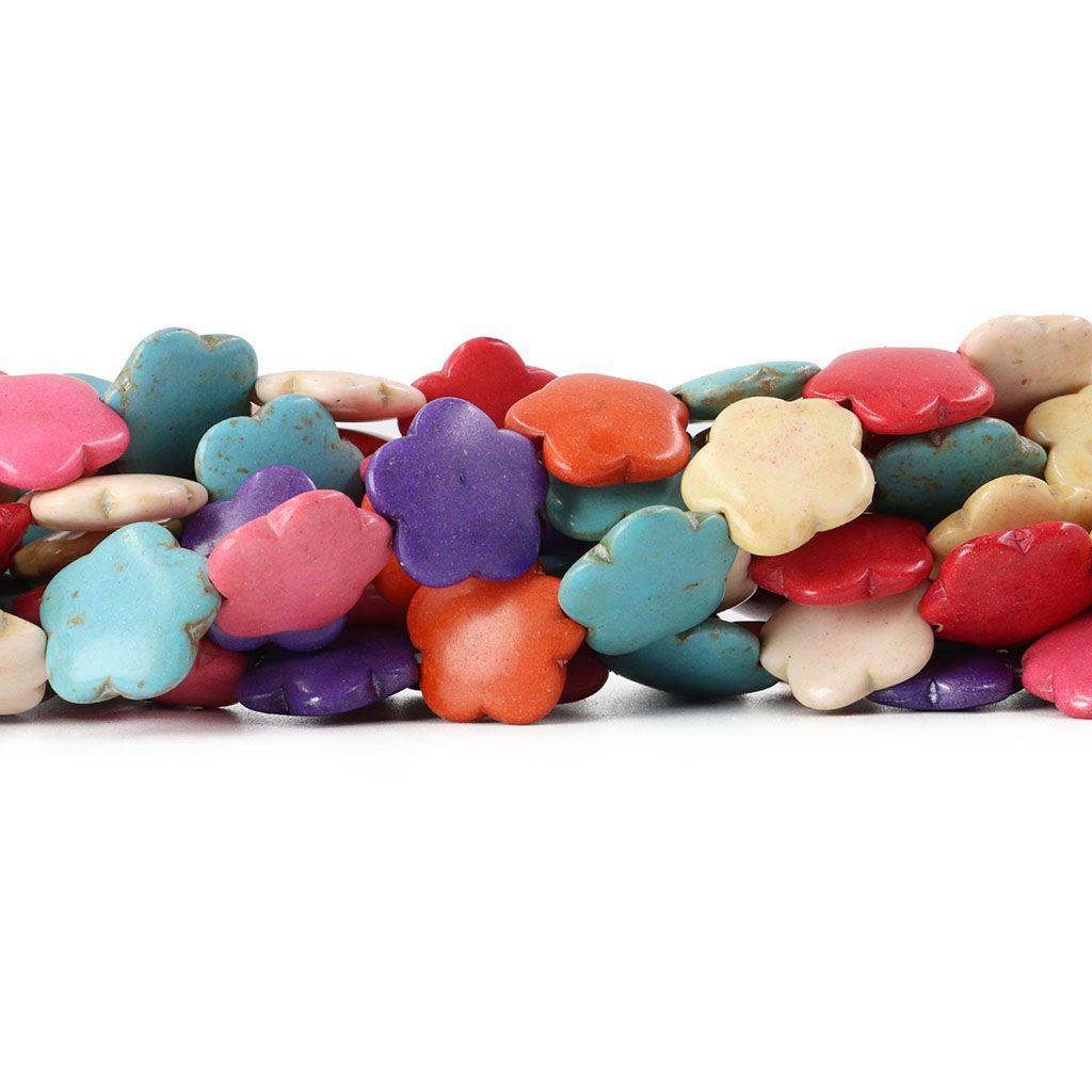 Fio de Howlita Colorida Flor 15mm - HO014  - ArtStones