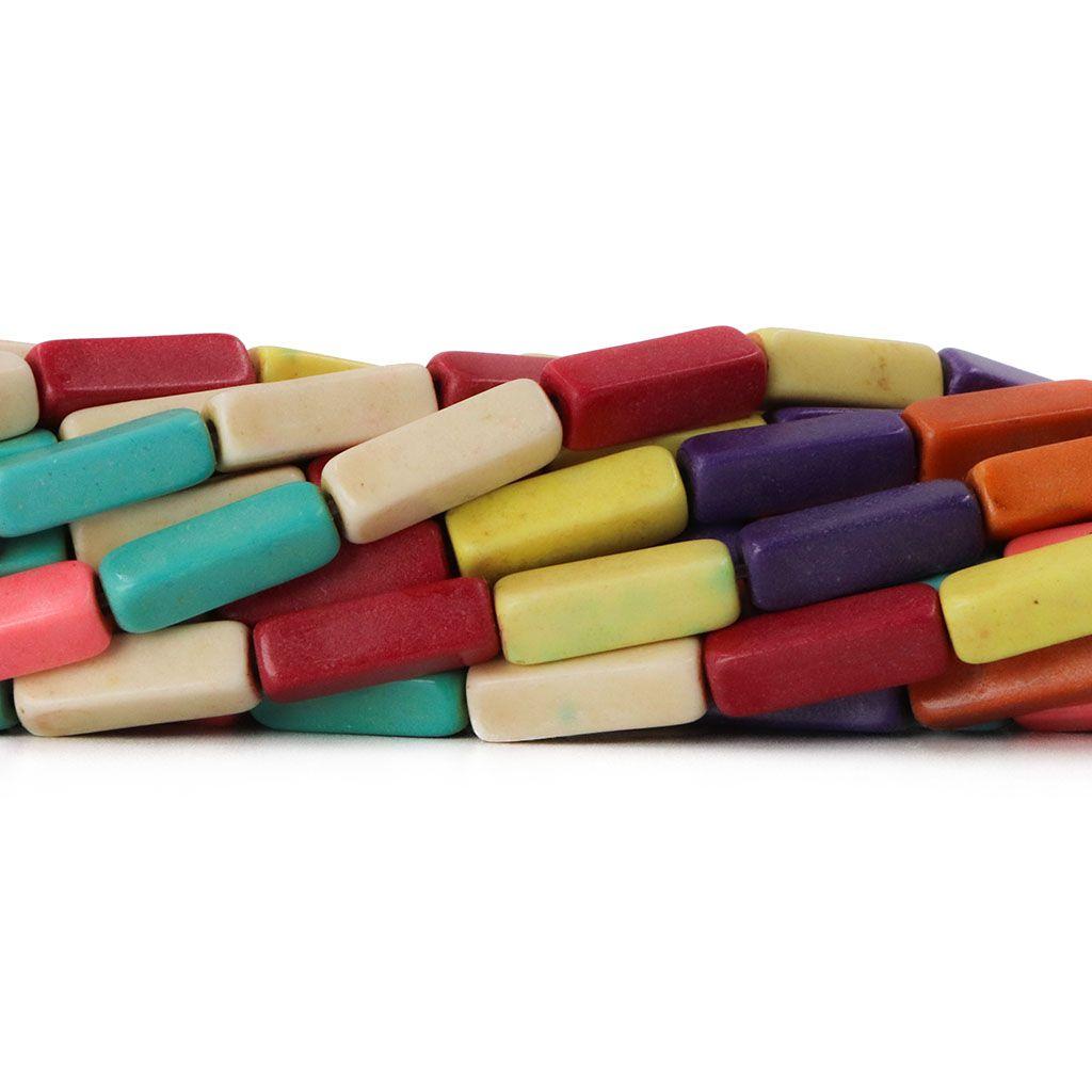 Fio de Howlita Colorida Retangular Palito 12mm - HO017  - ArtStones