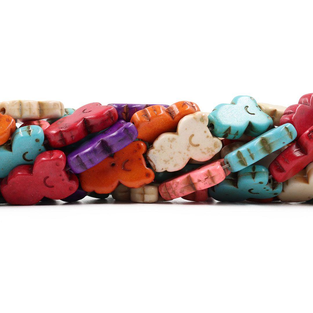 Fio de Howlita Colorida Sapinho 22mm - HO002  - ArtStones