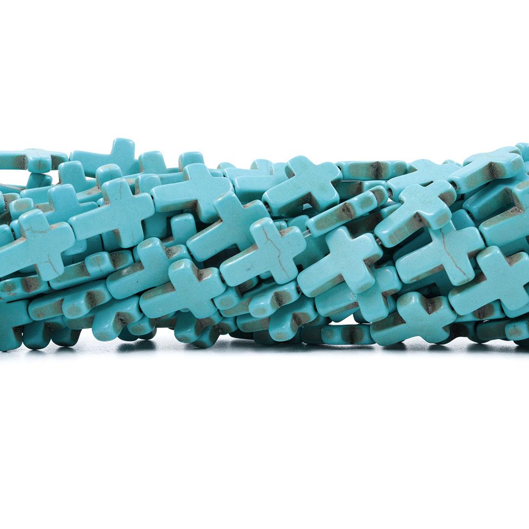 Fio de Howlita Cruz Azul 15.5x12mm - HO073  - ArtStones