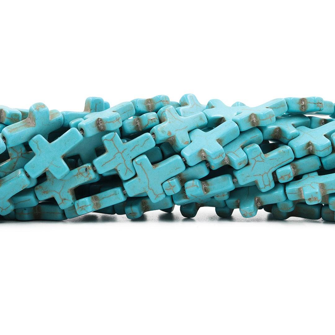 Fio de Howlita Cruz Azul 20x15mm - HO042  - ArtStones