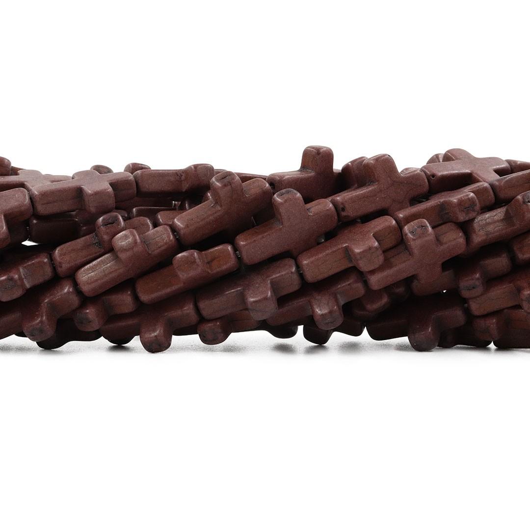 Fio de Howlita Cruz Marrom 20x15mm - HO065  - ArtStones