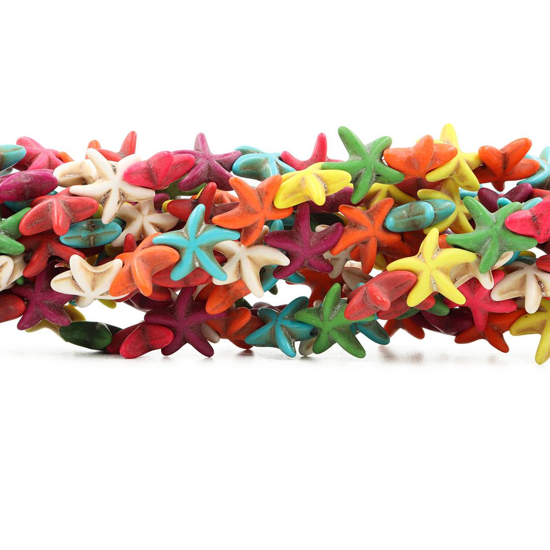 Fio de Howlita Estrela do Mar Colorida 13mm - HO066  - ArtStones
