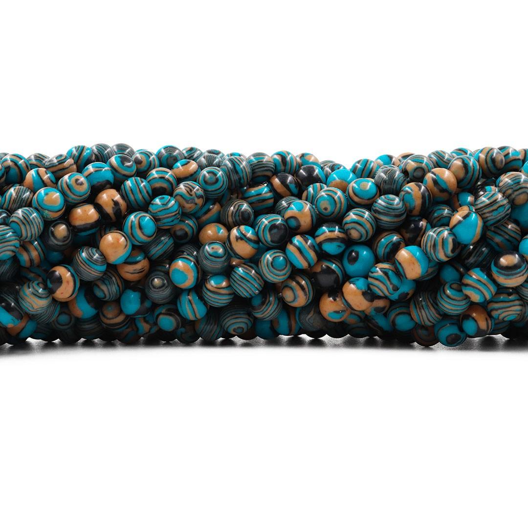 Fio de Imitação de Jaspe Imperador 6mm Azul Mesclado - F698  - ArtStones