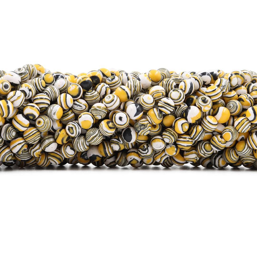 Fio de Imitação de Jaspe Imperador 6mm Amarelo Mesclado - F700  - ArtStones
