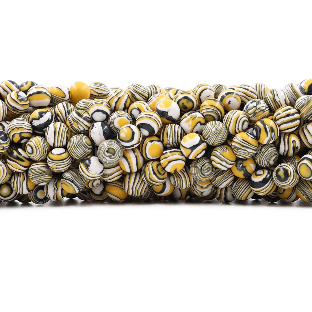 Fio de Imitação de Jaspe Imperador 8mm Amarelo Mesclado - F699  - ArtStones