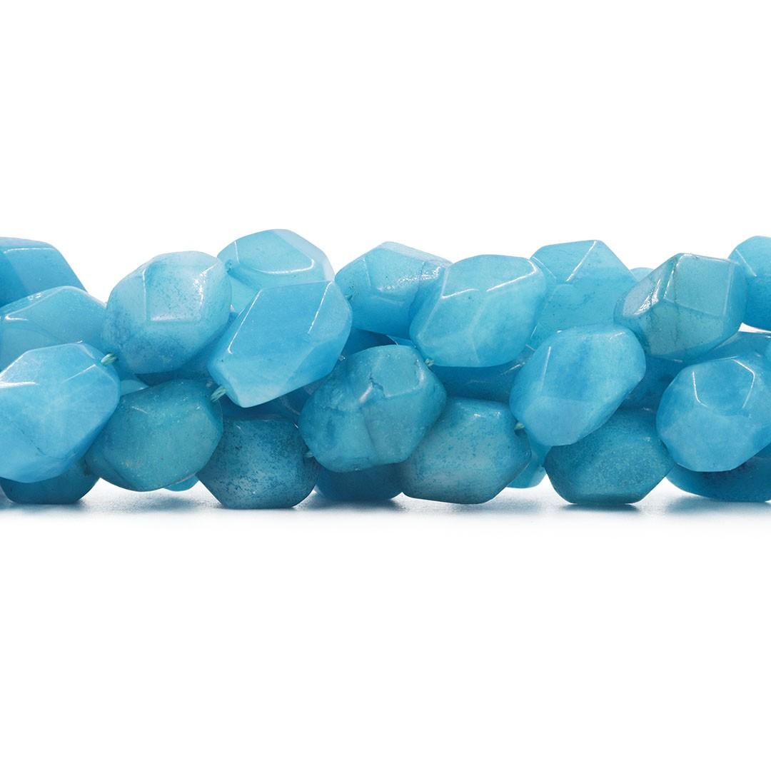 Fio de Jade Azul Caribe Chanfrado 18x12mm - RO006  - ArtStones