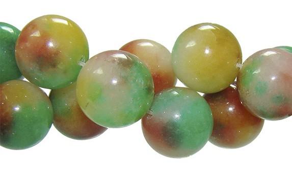Jade Multicolor Amarelo Fio com Esferas de 14mm - F357  - ArtStones