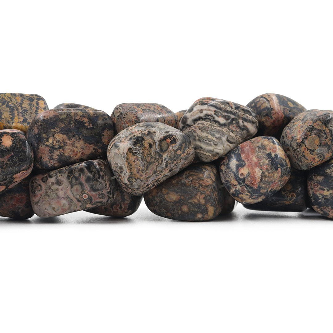 Fio de Jaspe Leopardo Natural Rolado  - RO025  - ArtStones